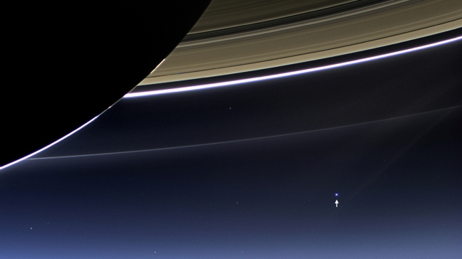A LOOK AT HOME FROM UNDER SATURN'S WING.