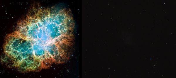 M1 CRAB NEBULA; HUBBLE vs. MY 8 INCH CELESTRON.