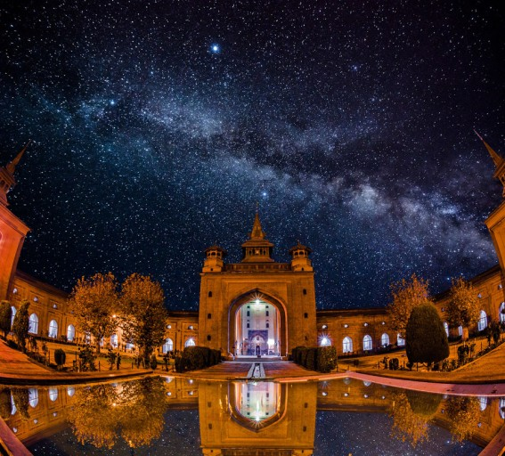 MILKY WAY OVER KASHMIR MOSQUE.