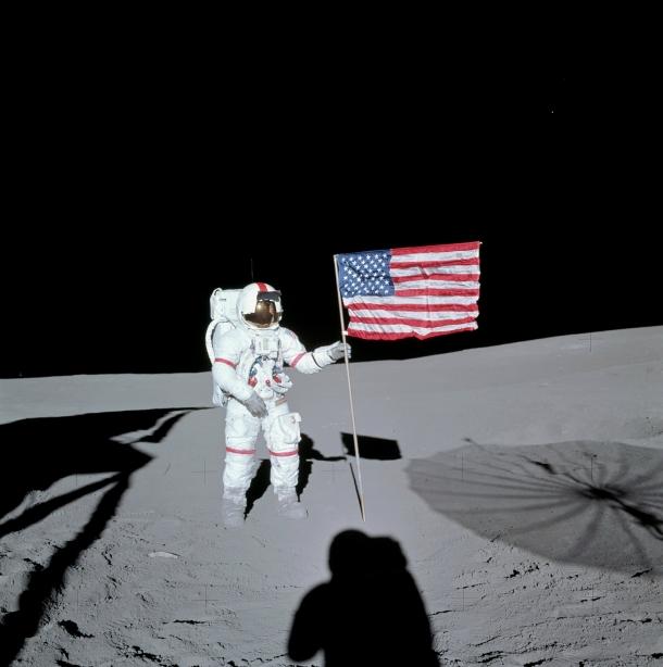 APOLLO 14: AMERICA PRESSES ON AFTER THE NEAR TRAGEDY OF APOLLO 13.