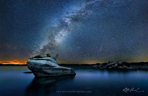 METEOR & MILKY WAY OVER BONSAI ROCK, LAKE TAHOE