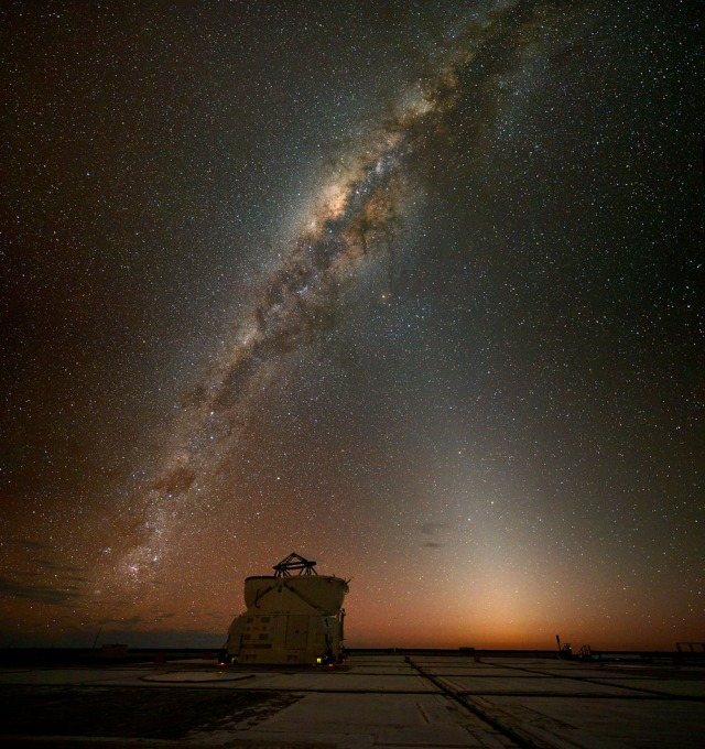 Zodiacal light and Milky Way over Paranal