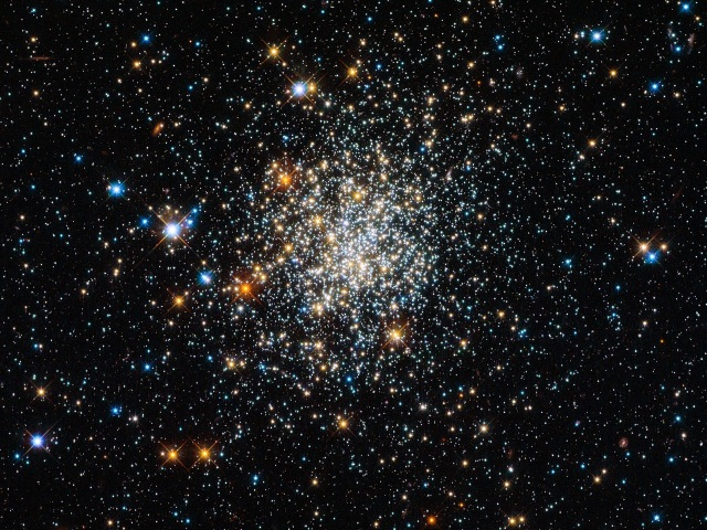 "Globular  clusters are roughly spherical collections of extremely old stars, and  around 150 of them are scattered around our galaxy. Hubble is one of the  best telescopes for studying these, as its extremely high resolution  lets astronomers see individual stars, even in the crowded core. The  clusters all look very similar, and in Hubble's images it can be quite  hard to tell them apart – and they all look much like NGC 411, pictured  here. And  yet appearances can be deceptive: NGC 411 is in fact not a globular  cluster, and its stars are not old. It isn't even in the Milky Way. NGC  411 is classified as an open cluster. Less tightly bound than a  globular cluster, the stars in open clusters tend to drift apart over  time as they age, whereas globulars have survived for well over 10  billion years of galactic history. NGC 411 is a relative youngster — not  much more than a tenth of this age. Far from being a relic of the early  years of the Universe, the stars in NGC 411 are in fact a fraction of  the age of the Sun. The  stars in NGC 411 are all roughly the same age, having formed in one go  from one cloud of gas. But they are not all the same size. Hubble's  image shows a wide range of colours and brightnesses in the cluster's  stars. These tell astronomers many facts about the stars, including  their mass, temperature and evolutionary phase. Blue stars, for  instance, have higher surface temperatures than red ones. The  image is a composite produced from ultraviolet, visible and infrared  observations made by Hubble's Wide Field Camera 3. This filter set lets  the telescope ""see"" colours slightly further beyond red and the violet  ends of the spectrum."