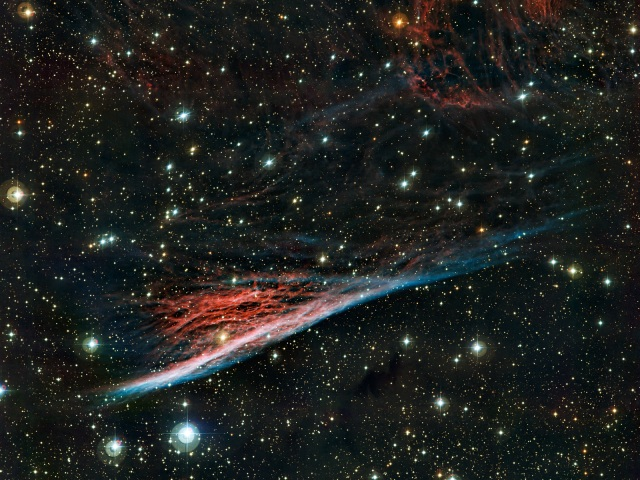 The  oddly shaped Pencil Nebula (NGC 2736) is pictured in this image from  ESO's La Silla Observatory in Chile. This nebula is a small part of a  huge remnant left over after a supernova explosion that took place about  11 000 years ago. The image was produced by the Wide Field Imager on  the MPG/ESO 2.2-metre telescope at ESO's La Silla Observatory in Chile.