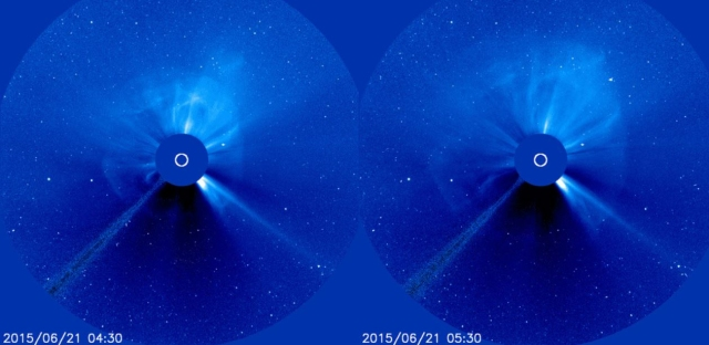 The progression of the full-halo CME as captured by NASA's Solar and Heliospheric Observatory (SOHO).