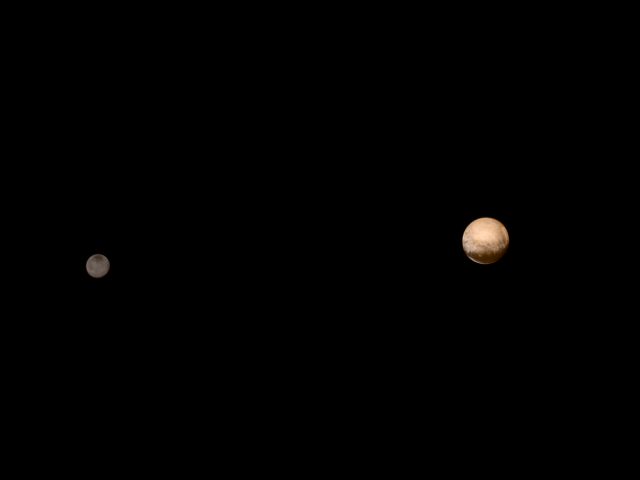 Pluto and Charon imaged by New Horizons on July 8, 2015 from a distance of 3.7 million miles.