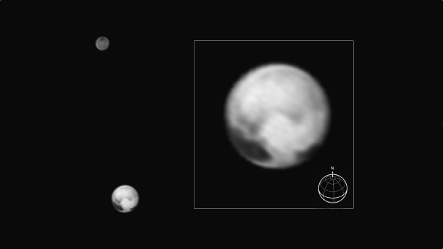 Pluto and Charon images by New Horizons on July 1, 2015 from a distance of 10 million mi. (16 million km).