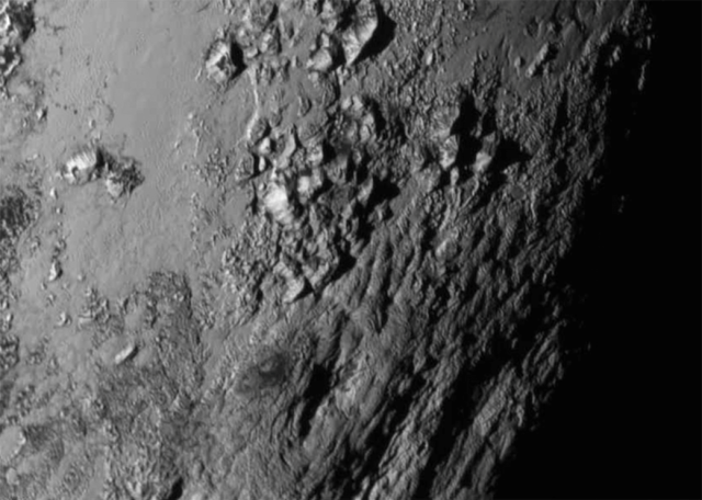 Taken on July 14, 2015, Just 1.5 hours from close approach and at a distance of only 47,800 mi (77,000 km) by New Horizons.